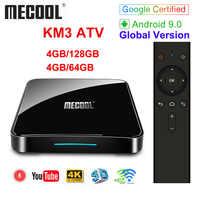 Google certifié MECOOL KM3 ATV Androidtv 9.0 4GB 64GB 32GB KM9 PRO Android 9.0 TV Box Amlogic S905X2 4K 2.4G 5G double Wifi BT4.0