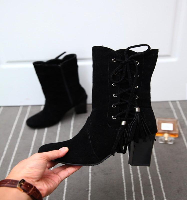 Winter Boots Cross Straps Chunky-Heel Simple Round-Toe Pu