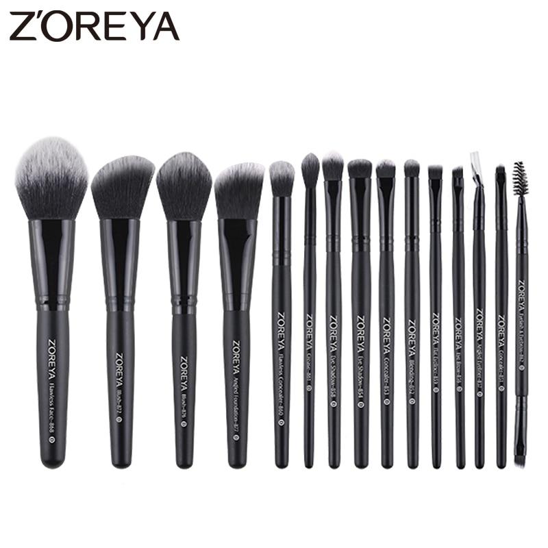 Zoreya brochas de maquillaje, juego de 15 Uds. De brochas de madera, Kabuki, colorete, cosméticos, base, correctores, mezcla de polvo, sombras de ojos|rizador de pestañas| - AliExpress