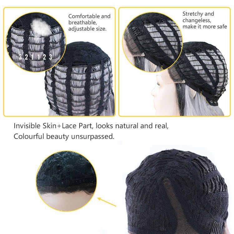 SOKU Ombre Blonde Lace Front Wig BOB Pendek Rambut Sintetis Wig untuk Hitam Putih Wanita L Bagian Renda Trendi Alami gelombang Wig