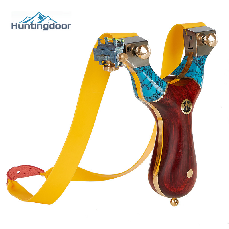 Titanium Alloy Slingshot Delicateness Turquoise Catapult Sandalwood Handle Hunting Accessories Shooting Practice Sling Wholesale
