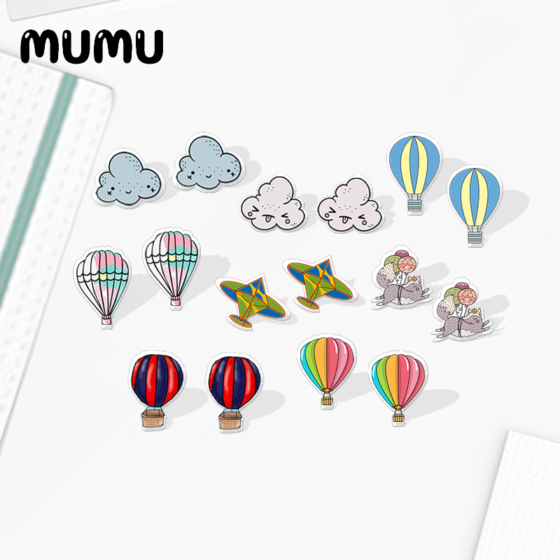 2020 New Hot Air Balloon Stud Earring Funny Cloud Acrylic Earring Handmade Earrings Epoxy Printed Jewelry For Children