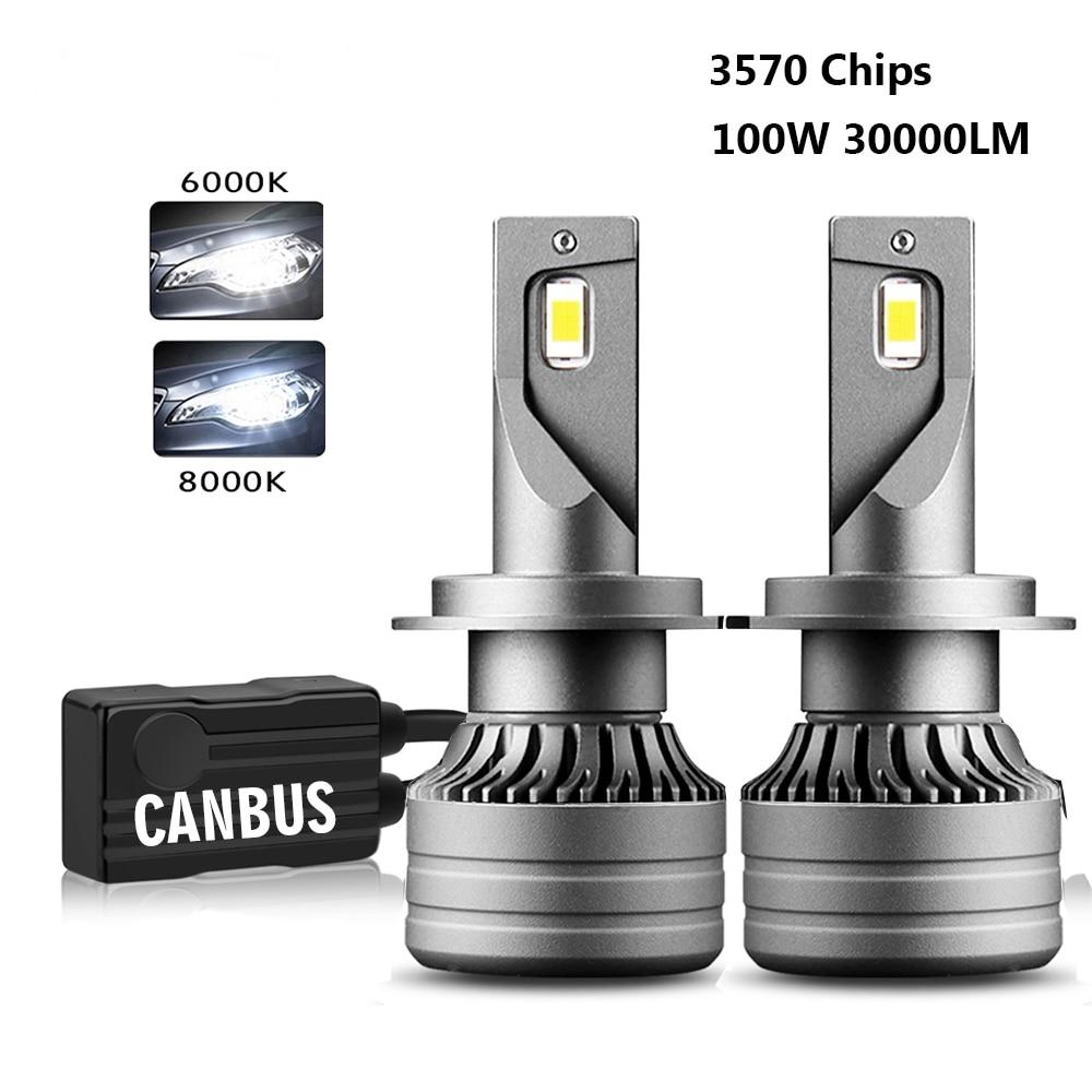 2 шт. 100 Вт 30000LM Автомобильный светодиодный фар H1 H4 H7 светодиодный Canbus H8 H9 H11 9005 HB3 9006 HB4 дальнего света авто фары лампы Авто Turbo