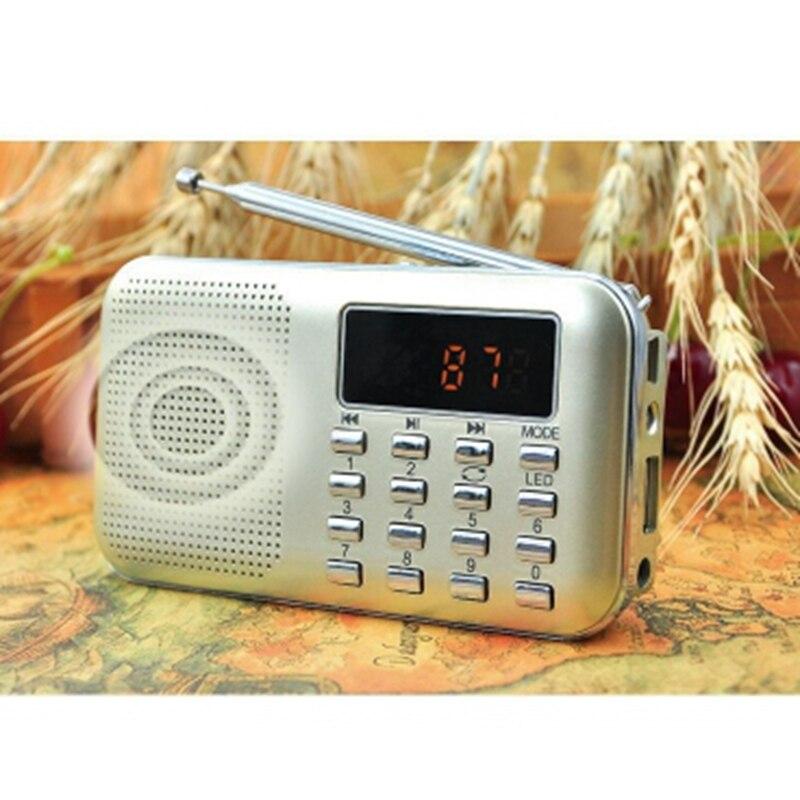 Портативный мини стерео lcd цифровой fm-радио динамик с светодиодный светильник и перезаряжаемой батареей Поддержка USB TF карта Mp3 Music PlayerUM
