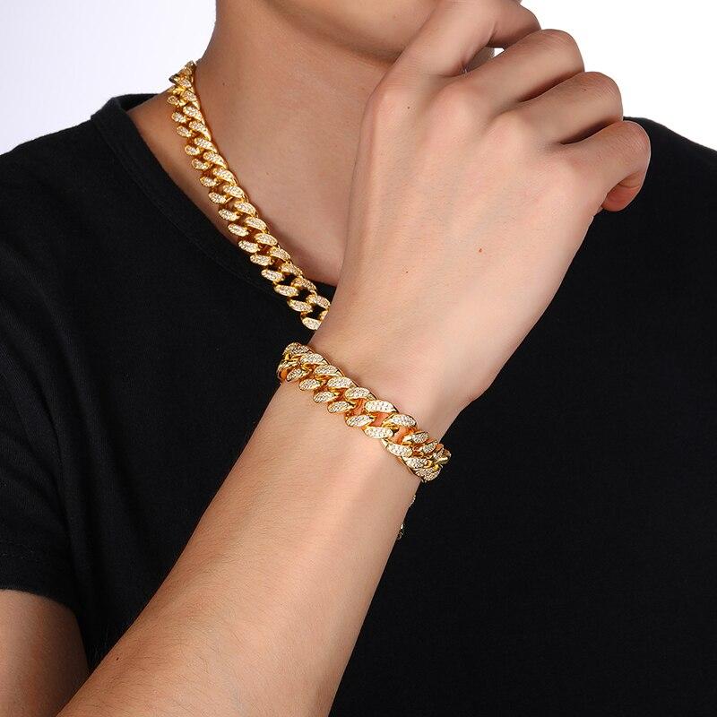12MM plein glacé AAA zircone cuivre CZ lien cubain chaîne collier pour hommes rappeur Hip Hop bijoux or argent couleur - 4