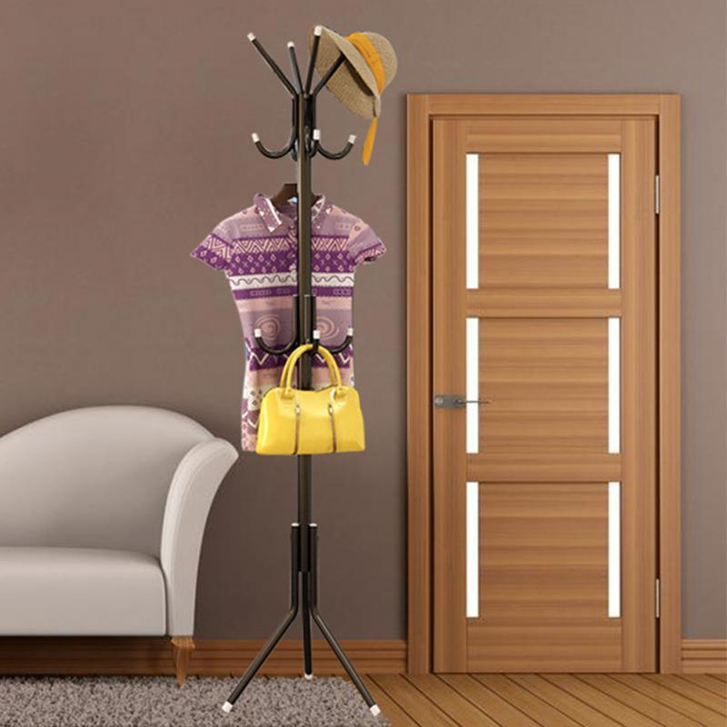 12 Hooks Multi Function Coat Hat Metal Rack Organizer Hanger Bedroom Hook Stand For Purse Handbag Clothes Scarf Holder Hooks