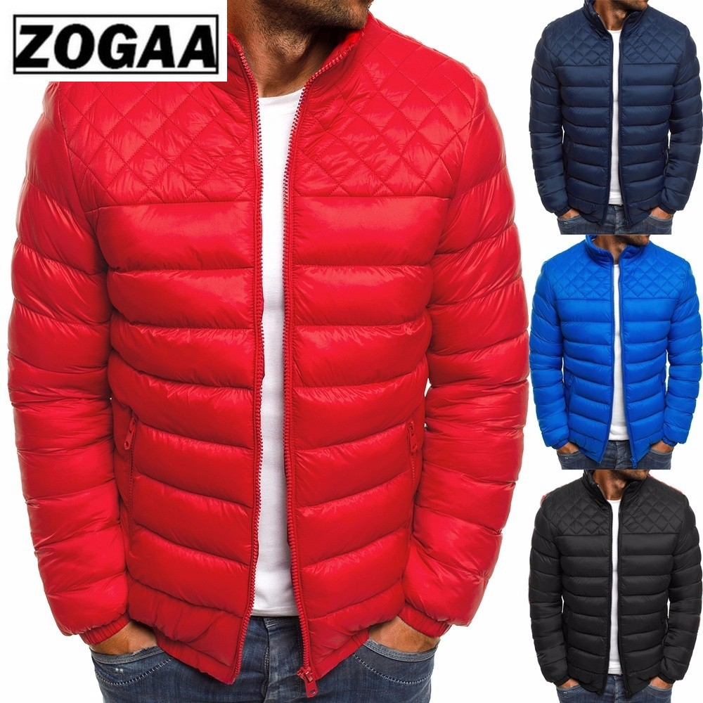 ZOGAA Winter Men's   Parkas   Light Weight Warm Coats Casual Stand Collar Outwear Male   Parka   Jacket Mens Solid Thick Jackets &Coat