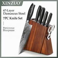 XINZUO 7 PCS Kitchen Knives Set Japanese VG10 Damascus Steel Chef Utility Knife Pakka Wood Handle Professional Knife Block Set