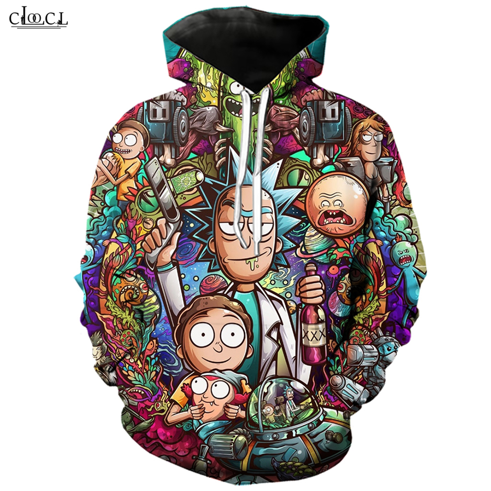 Cartoon Ricky and Morty Women's Men's Hoodie Tops 3D Print Long Sleeve Sweatshirt Casual Pullovers Wild Streetwear Couple Wear