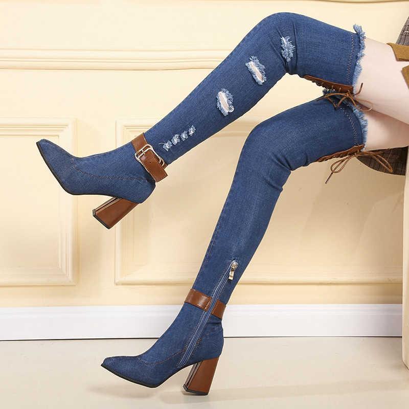 Botas Vaqueras Para Mujer Zapatos De Tacon Alto Grueso Con Punta En Pico Por Encima De La Rodilla Pantalones Vaqueros Informales Con Flecos Recortados Botas Largas Para Mujer Botas Sobre La Rodilla