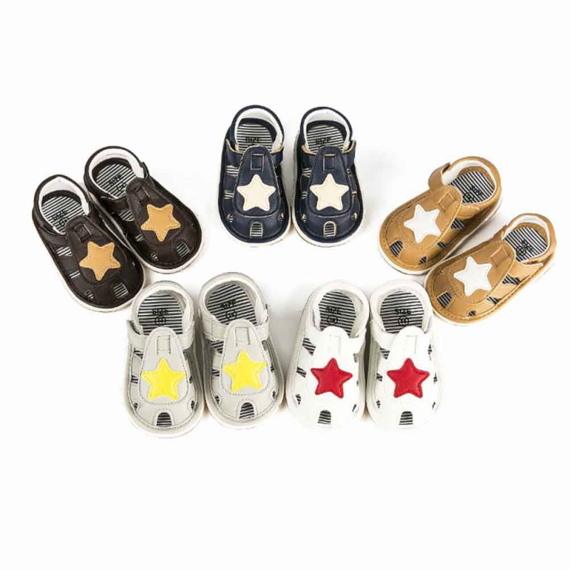Summer Newborn Star Baby Shoes With Sounds Cute Baby Boy Girl Shoes First Walkers Sounds Princess Shoes