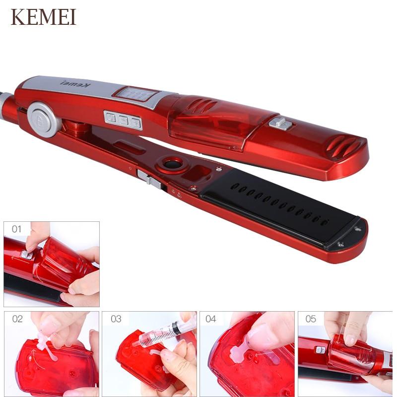 KEMEI Electric Steam Hair Straightener  Steam Comb  Straightening Hair Straight Hair Brush  Temperature Display Styling Tool   5