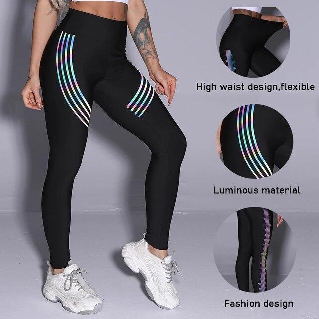 Women's Casual Slim Iridescent Reflective Material Printed Fitness Leggings Slim Stretch Elastic Glow in Dark Pants Trousers 6