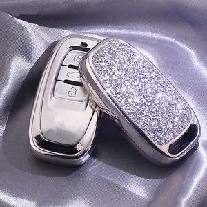 Image 4 - Алмазный чехол для автомобильного ключа для Audi A6L A4L Q5 A3 A4 B6 B7 B8 Интеллектуальный брелок для девочек женские подарки аксессуары