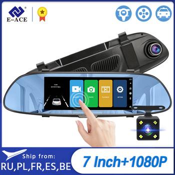 E-ACE wideorejestrator samochodowy FHD 1080P 7 0 Cal wideorejestrator kamera na lusterko podwójny obiektyw z widokiem z tyłu kamera Auto rejestrator kamera na deskę rozdzielczą tanie i dobre opinie GENERALPLUS Lusterko wsteczne Klasa 10 Connect With Charger Work 170 ° Samochód dvr 1920x1080 NONE G-sensor Zoom cyfrowy