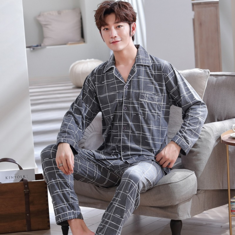 Pajamas Men's Long Sleeve Pure Cotton Summer Summer Men Pajamas Thin Greenish Blue Middle-aged Spring And Autumn Homewear Set 56