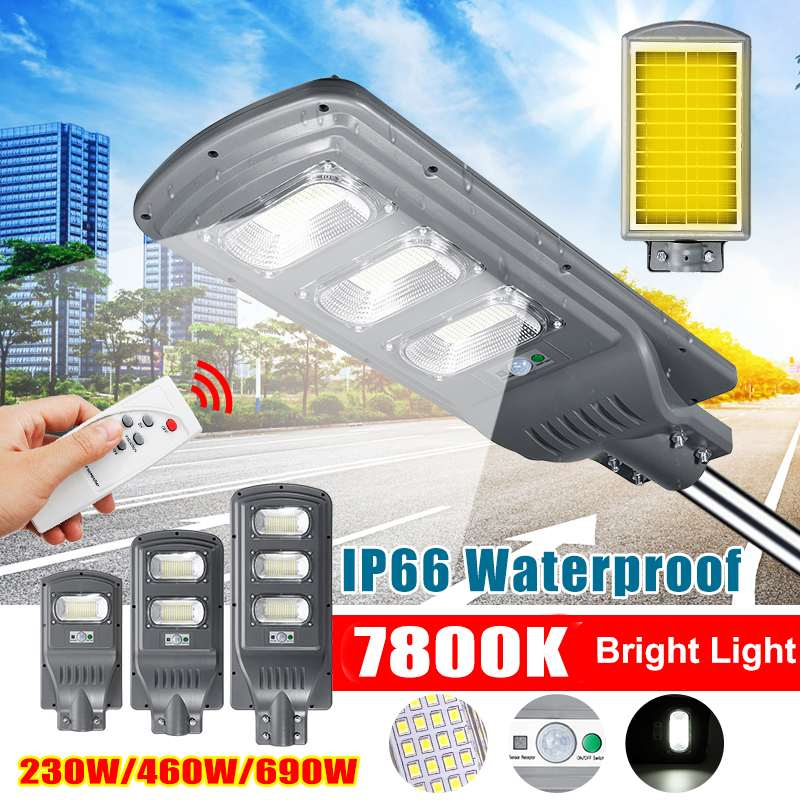 IP66 230W/460W/690W LED Solar Light Outdoor Garden Solar Lamp Radar PIR Motion Sensor Wall Light Solar Powered Sunlight 7800K