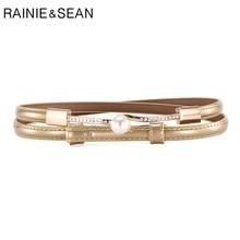 RAINIE SEAN Thin Belts For Women Fashion Pearl decoration Dress Belt Adjustable Black White Blue Red Gold Ladies Strap