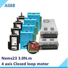 Kit de motor de circuito cerrado de 4 ejes: sistema de circuito cerrado de motor paso a paso nema 23 con freno + servoaccionamiento HBS57H + 3M pieza cnc de cable