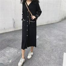 New Women Sweater Dress Spring Autumn Sweaters V Collar Single Breasted Pocket Loose Knitted Black Long Cardigans
