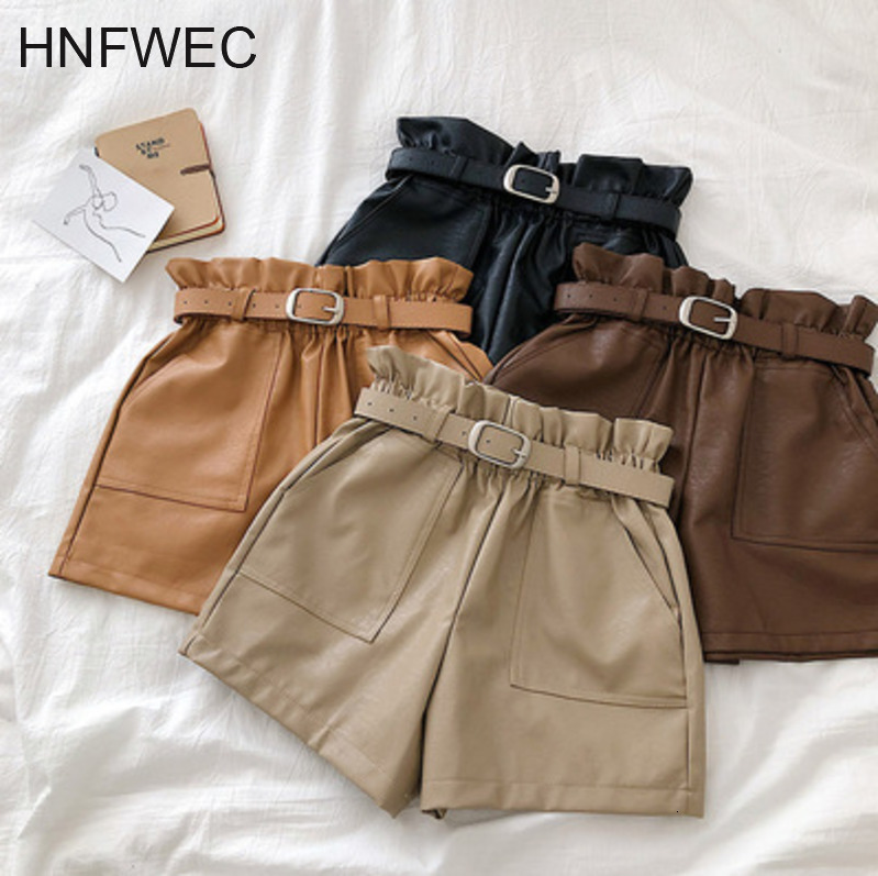 High Waist PU Leather Shorts Women Cool Punk Sashes Wide Leg Shorts Spring Autumn Casual Loose Elastic Waist Leather Shorts L047