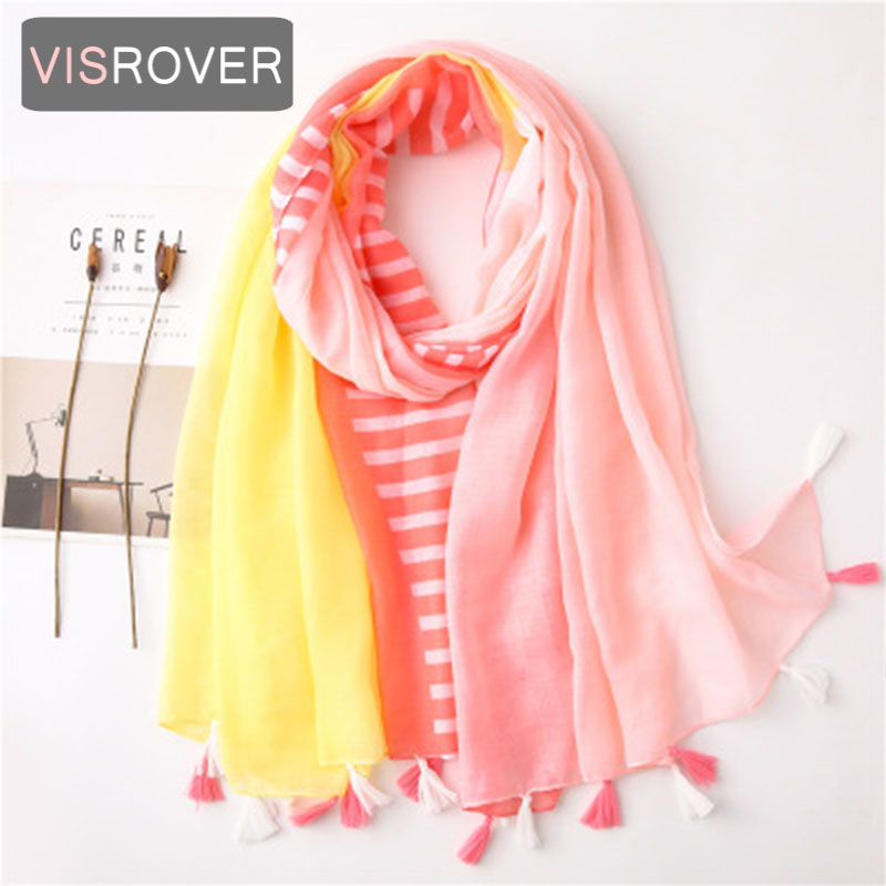 VISROVER 2020 Strip Printing Viscose Spring Summer Scarf  With Tassel Fashion Beach Wraps Spring Shawls Hijab Gift Wholesales