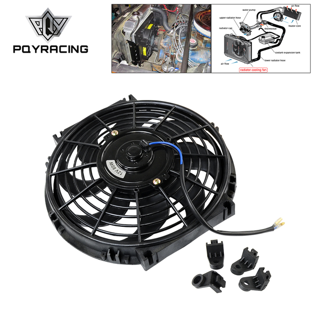 "PQY - 10 Inch Universal 12V 80W Slim Reversible Electric Radiator AUTO FAN Push Pull With mounting kit Type S 10"" PQY-FAN10"
