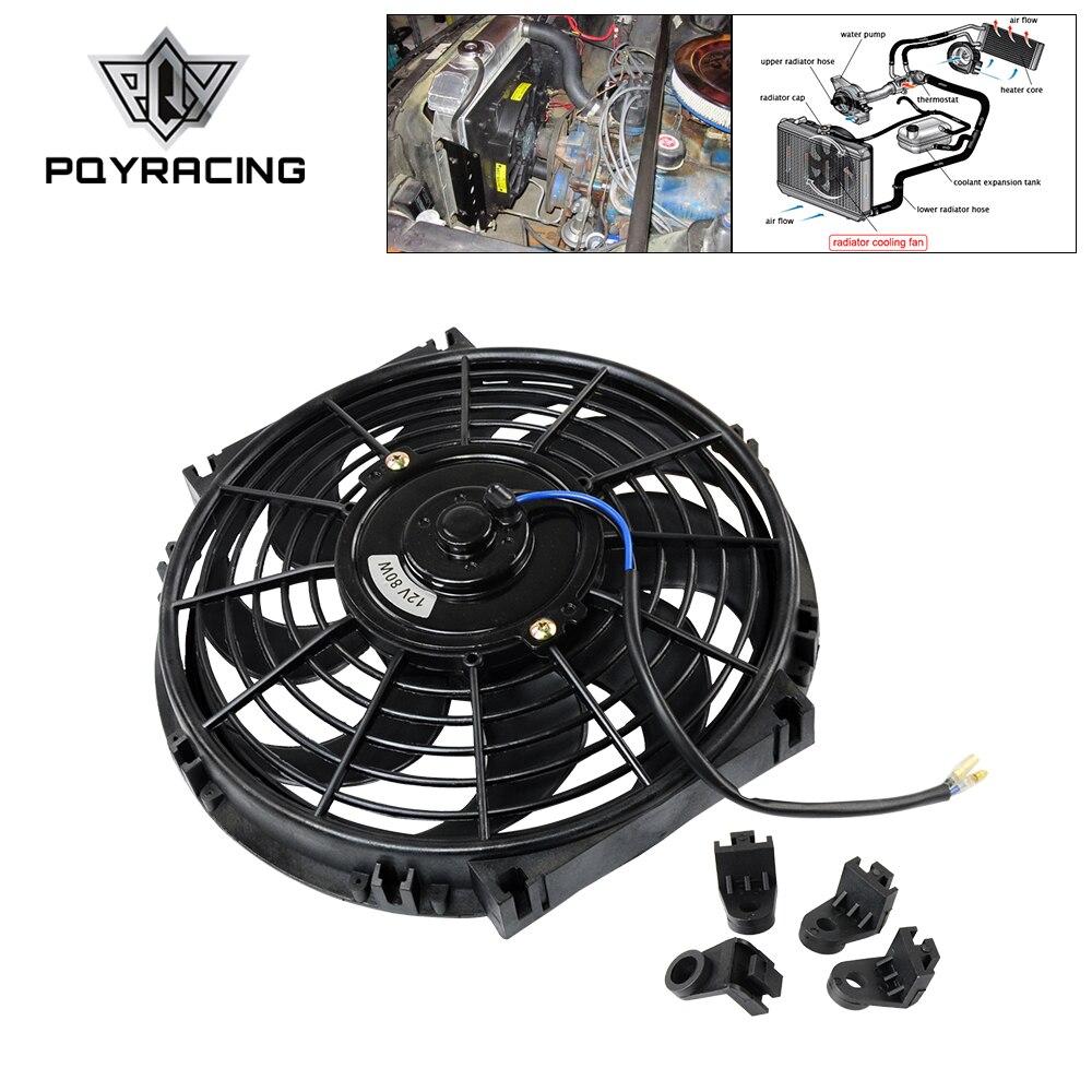 Ventilador eléctrico PQY de 10 pulgadas, Universal, 12V, 80W, Delgado, Reversible, con kit de montaje, tipo S, PQY-FAN10 de 10