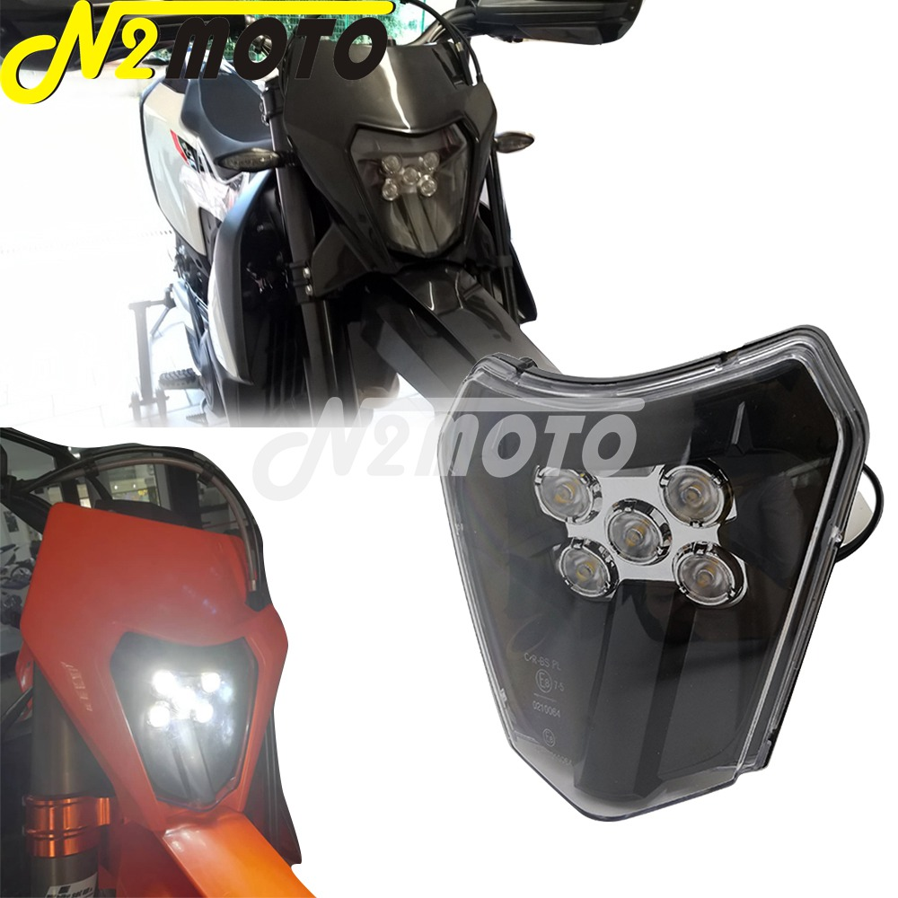 LED 12V 30W Dual Sport Dirt Naked Bike Headlight Replacement Emark E8 Front Lamp Head Light Assembly For KTM 250 300 450 Six Day