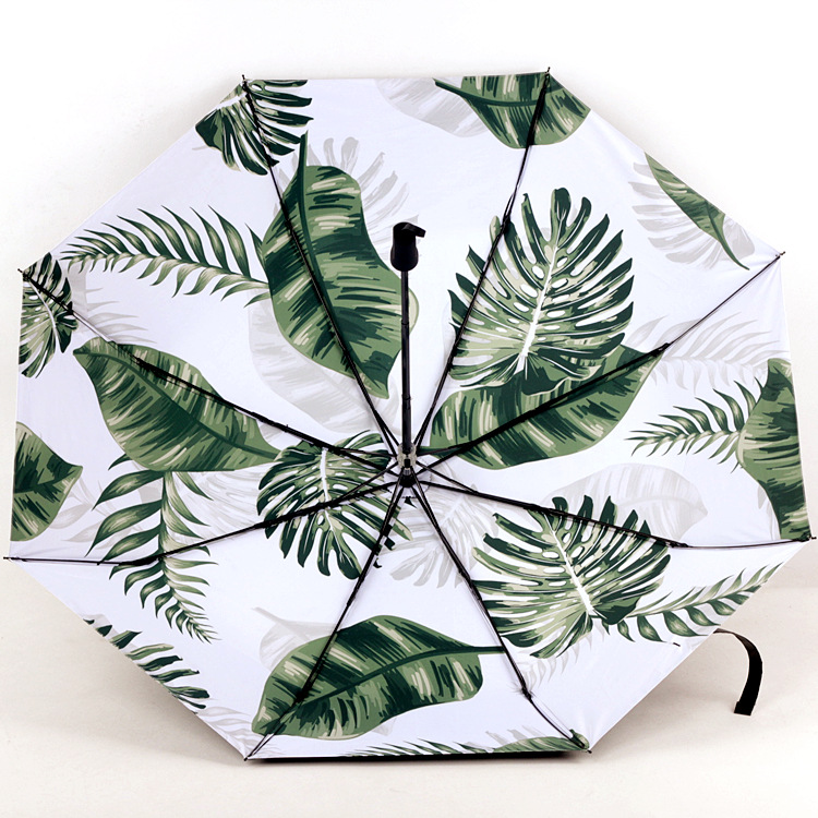 Currently Available New Style Digital Printing Torrid Zone Plant Leaf Green Leaf Vinyl Full Blackout All-Weather Umbrella Paraso