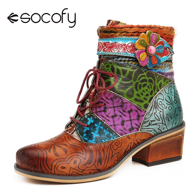SOCOFY Colorful Boots Genuine Leather Splicing Flower Lace Up Zipper Flat Short Boots Elegant Shoes Women Shoes Botas Mujer