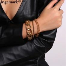 Высокое качество Очаровательные массивные толстые цепи браслеты Набор для женщин мужчин повязки стимпанк Бохо змея пара браслет ювелирные изделия