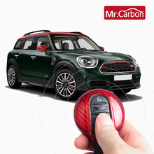 True Carbon Fiber Car Key Case Protection Cover For BMW MINI Cooper F54 F55 F56 F57 F60 Clubman Car Keychain Styling Accessories(China)