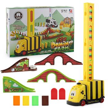 Automatyczne układanie Domino cegła lokomotywa zestaw dźwięk światło dzieci kolorowe plastikowe Domino bloki zabawki do gier zestaw prezent dla dziewczyny chłopców tanie i dobre opinie JIMITU C0076 8 ~ 13 Lat Urodzenia ~ 24 Miesięcy 14Y 2-4 lat 5-7 lat Z tworzywa sztucznego Transport No Eating