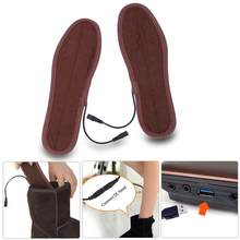 1 Pair USB Heated Shoe Insoles Foot Warming Pad Feet Warmer Sock Pad Mat Winter Outdoor Sports Heating Insoles Winter Warm(China)