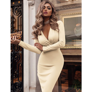 Image 3 - נשים שמלת סתיו חורף מקרית מוצק צבע ארוך שרוול אלגנטי משרד ליידי שמלה סקסי עמוק V צוואר Bodycon עיפרון המפלגה שמלות