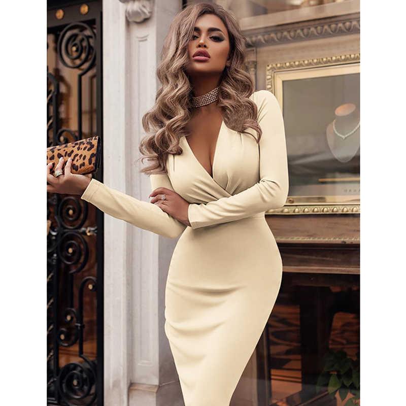 נשים שמלת סתיו חורף מקרית מוצק צבע ארוך שרוול אלגנטי משרד ליידי שמלה סקסי עמוק V צוואר Bodycon עיפרון המפלגה שמלות