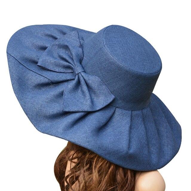 Chapeau pliable en paille pour protection UV, Kentucky, Derby à large bord, à large bord, pour église de mariage, plage, détail avec nœud A047