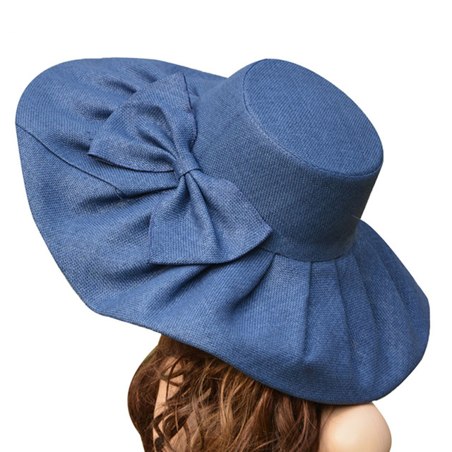 Straw UV protection Collapsible Sun Hat for Women Kentucky Derby Wide Brim Wedding Church Beach Floppy Hat Bow Detail A047