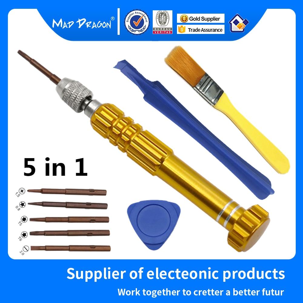 Laptops 5 in 1 Screwdriver Mobile Phone Repair tool T5 T6 Cross plum Screws Driver Set disassembly pry bar Rocker cleaning brush