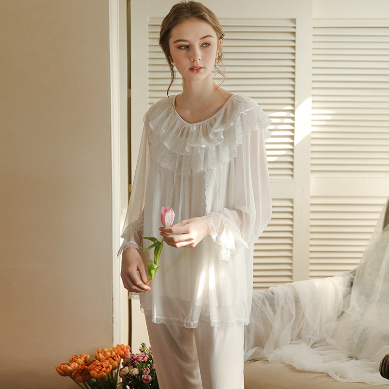 Spring And Autumn Pajamas Female  Lace Round Neck   Long Sleeve Home Suit 2183
