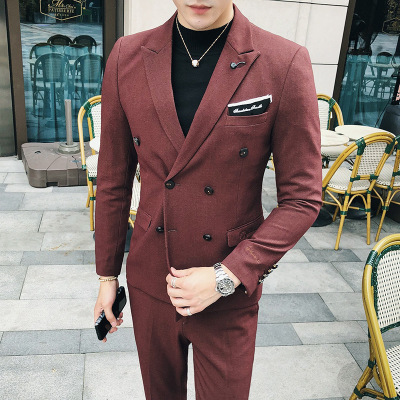 Blazer Men's Korean Version Of The Wild Wedding Dress Groomsman Dress Business High-quality Casual Double-breasted Suit