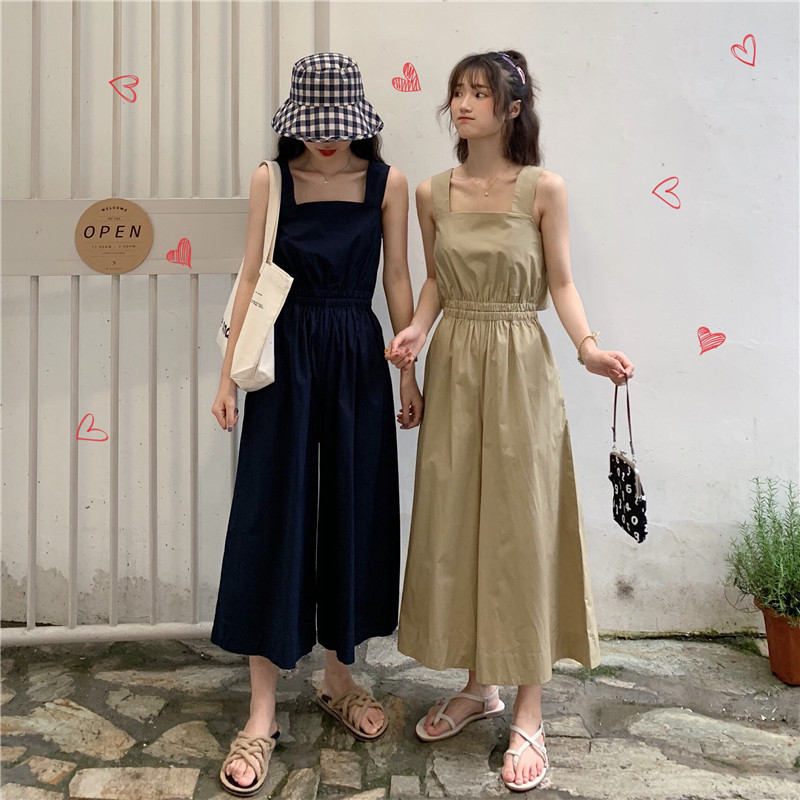 Number One People WOMEN'S Dress Summer New Style Sense Of Design Cutout-Waist Back Hollow Out Vest Onesie Loose Pants