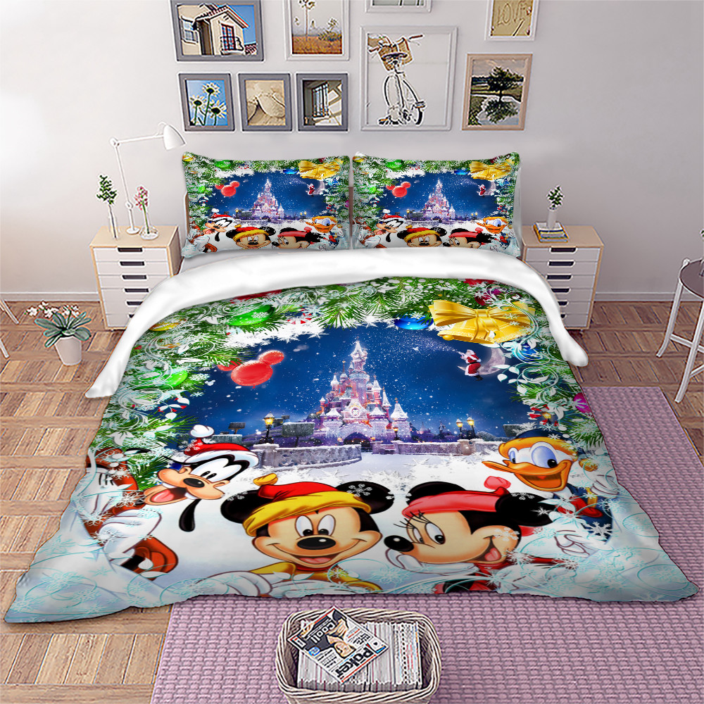 Disney Cartoon Bedding Set 3D Mickey Minnie Christmas Duvet Quilt Cover Pillowcases Twins Full Queen King Children Bedroom Decor