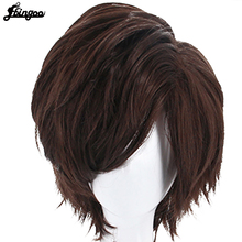 Hair Cap+ Overwatch OW Tracer Short Straight Brown Synthetic Cosplay Wig Shaggy Layered Peruca For Halloween Party haikyuu volleyball oikawa tooru short brown shaggy layered cosplay wig cap girls cosplay wig free shipping