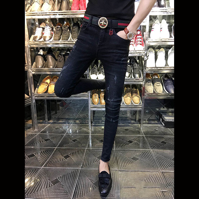 Hot 2019 Fashion Skinny Jeans Men Teenagers Students Cowboy Slim Black Shaved Trend Men's Social Pants Pantalon Homme Denim Jean