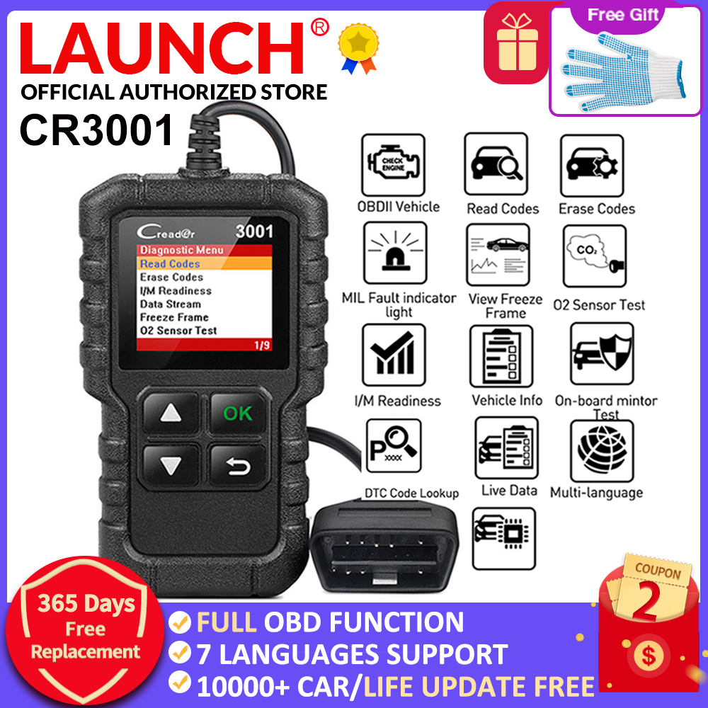LAUNCH X431 Creader 3001 Full OBDII/EOBD code reader scanner Multilingual CR3001 Car diagnostic tool PK ELM 327