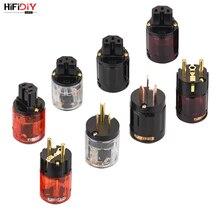 HIFIDIY canlı ab/abd/AU saf bakır altın kaplama priz kuyruk konnektörü HIFI ses güç kaynağı kablosu konnektörler kırmızı Black029