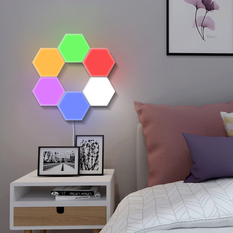 2019 lumière quantique Helios tactile sensible LED panneau lumière modulaire hexagonale LED lumières magnétiques peinture LED plafon LED techo - 5
