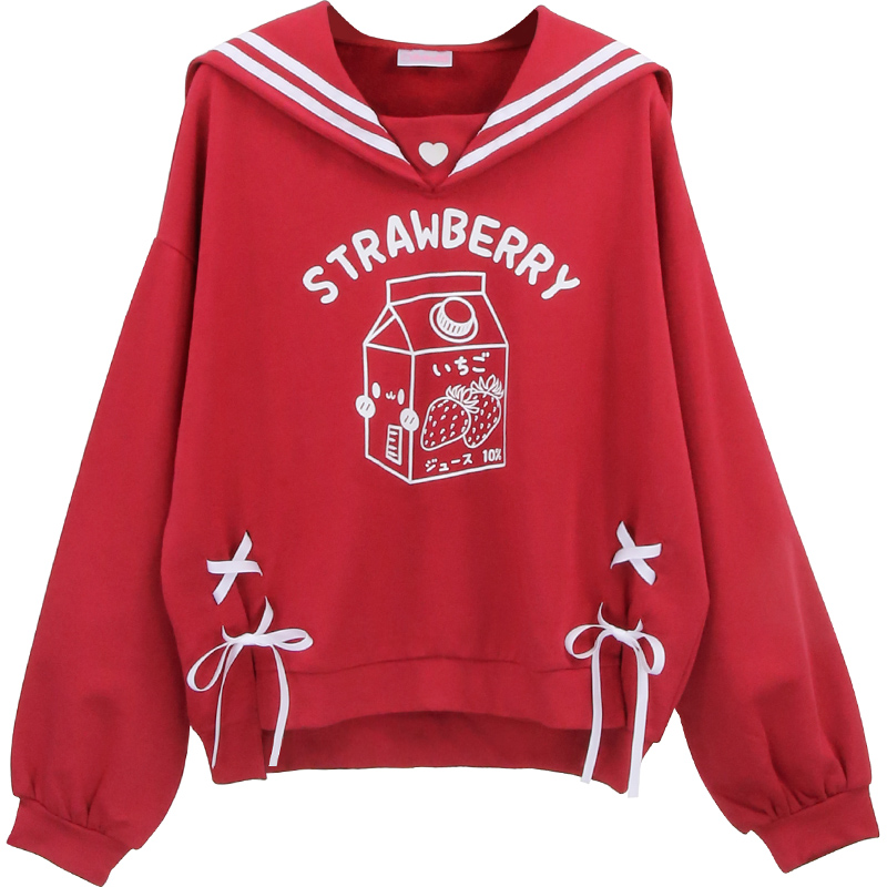 Lolita Sweet Women Red Sweatshirt Japanese Kawaii Strawberry Cat Graphic Girls Lace Up Female Cute Anime Warm Fleece Hoodies